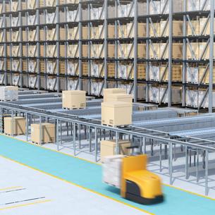 大型自動物流センターのインテリアイメージ。AGV無人搬送車、無人運転フォークリフトによる効率化の写真素材 [FYI04646931]