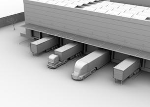 物流センタートラックターミナルの前にある電動トラックのクレイシェーディングイメージの写真素材 [FYI04646932]