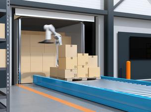 コンテナから荷降ろししているロボットのイメージ。スマート工場のコンセプトの写真素材 [FYI04646939]