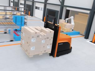 物流センターに梱包パレットを運搬するバッテリー式自動運転フォークリフト車のイメージの写真素材 [FYI04646943]