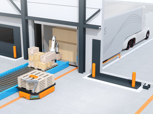 木製パレットを運ぶAGV自動搬送車、トラックの荷台から貨物をを降ろすロボットのイメージの写真素材 [FYI04646950]