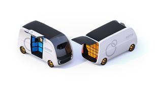 利用者がロボット配送車の宅配ボックスに荷物を受け取るコンセプトイメージの写真素材 [FYI04646971]