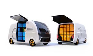 利用者がロボット配送車の宅配ボックスに荷物を受け取るコンセプトイメージの写真素材 [FYI04646972]