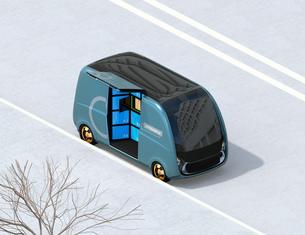 路側帯に停車されているロボット配送車のイメージ。ラストワンマイルコンセプトの写真素材 [FYI04646975]