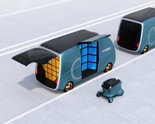 路側帯に停車中のロボット配送車と配達ドローンのイメージ。ラストワンマイルコンセプトの写真素材 [FYI04646977]