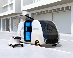 路側帯に停車中のロボット配送車と配達ドローンのイメージ。ラストワンマイルコンセプトの写真素材 [FYI04646985]