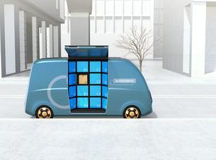 路側帯に停車されているロボット配送車のイメージ。ラストワンマイルコンセプトの写真素材 [FYI04646987]
