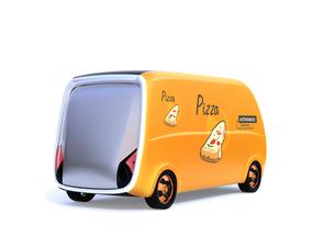 白バックにある無人運転ピザ宅配ロボットカーの後ろイメージの写真素材 [FYI04646992]