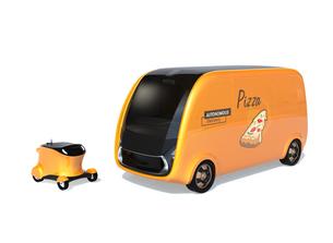 白バックにある無人運転ピザ宅配ロボットカーとドローンのイメージの写真素材 [FYI04646995]