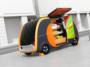 自動運転無人販売車のイメージ。商品棚にモバイル決済用タッチパネルが備えており、収納可能なのぼり旗付きの写真素材 [FYI04647007]
