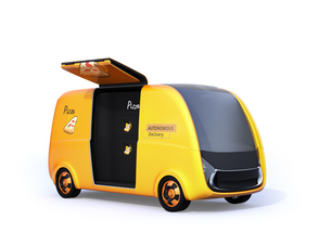 ピザ宅配無人運転ロボットカーのコンセプトイメージの写真素材 [FYI04647016]