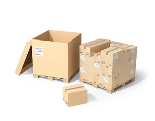 木製パレットにラップ巻きの段ボール箱と強化ダンボール箱のイメージの写真素材 [FYI04647020]