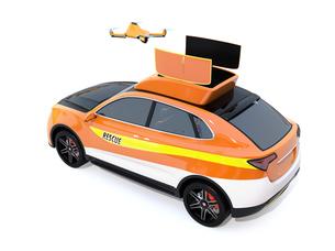 白バックに災害救助SUVから離着陸している捜索ドローンのコンセプトイメージの写真素材 [FYI04647024]