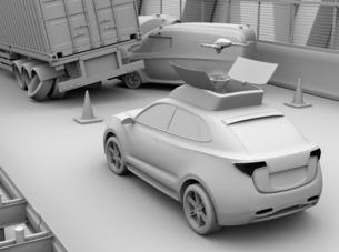 交通事故を調査するために駆け付けたレスキューSUVから飛び立つドローンのクレイレンダリングイメージの写真素材 [FYI04647040]
