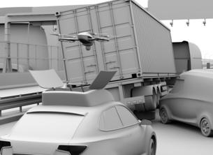 交通事故を調査するために駆け付けたレスキューSUVから飛び立つドローンのクレイレンダリングイメージの写真素材 [FYI04647045]