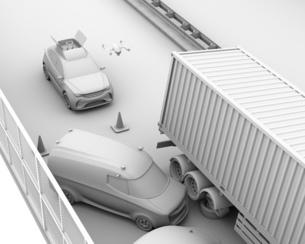 交通事故を調査するために駆け付けたレスキューSUVから飛び立つドローンのクレイレンダリングイメージの写真素材 [FYI04647046]