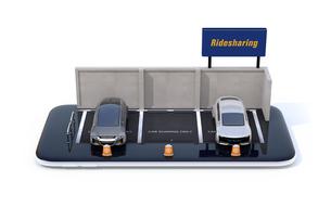 スマートフォンにライドシェア看板がある駐車場のミニチュア。ライドシェアビジネスのコンセプトの写真素材 [FYI04647047]
