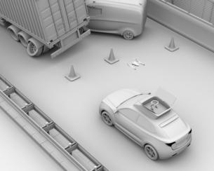 交通事故を調査するために駆け付けたレスキューSUVから飛び立つドローンのクレイレンダリングイメージの写真素材 [FYI04647050]