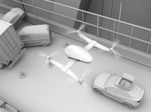 交通事故を調査するために駆け付けたレスキューSUVから飛び立つドローンのクレイレンダリングイメージの写真素材 [FYI04647051]