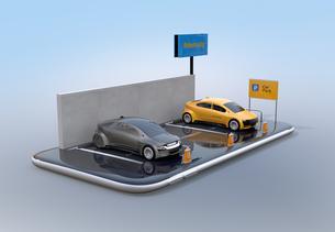 スマートフォンにカーシェアリング専用駐車場のイメージ。の写真素材 [FYI04647054]