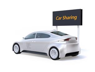 白バックにカーシェアリング用電気自動車の後ろイメージの写真素材 [FYI04647055]