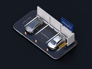 スマートフォンにライドシェア看板があるカーシェア専用駐車場のアイソメアングルイメージの写真素材 [FYI04647056]