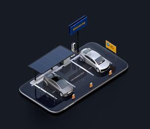 スマートフォンにソーラーパネル、充電設備完備の駐車場。カーシェアリングのコンセプトの写真素材 [FYI04647058]