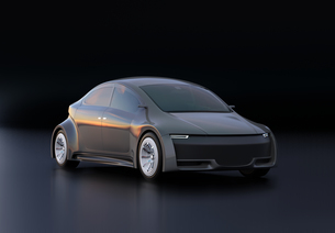黒バックにメタリックグレイの電気自動車のイメージの写真素材 [FYI04647060]