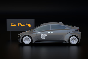 黒バックにカーシェアリング看板と電気自動車の側面イメージの写真素材 [FYI04647061]