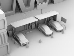 カーシェアリング専用駐車場に充電している電気自動車のクレイレンダリングイメージの写真素材 [FYI04647062]