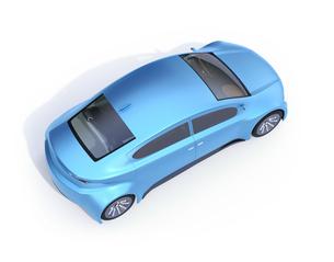 白バックにメタリックブルーの電気自動車の鳥瞰イメージの写真素材 [FYI04647067]