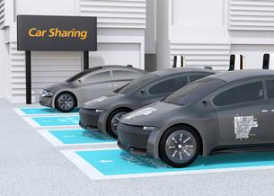 カーシェアリング専用駐車場に充電している電気自動車のイメージの写真素材 [FYI04647068]