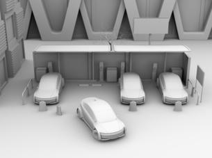 カーシェアリング専用駐車場に充電している電気自動車のクレイレンダリングイメージの写真素材 [FYI04647071]