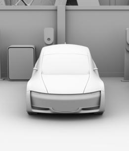 カーシェアリング専用駐車場に充電している電気自動車のクレイレンダリングイメージの写真素材 [FYI04647072]