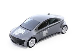 白バックにカーシェアリンググラフィックステッカーがあるメタリックシルバー色の電気自動車の写真素材 [FYI04647073]