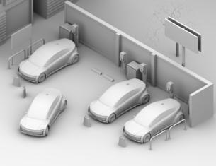カーシェアリング専用駐車場に充電している電気自動車のアイソメクレイレンダリングイメージの写真素材 [FYI04647075]