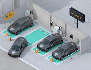 カーシェアリング専用駐車場に充電している電気自動車のアイソメイメージの写真素材 [FYI04647076]