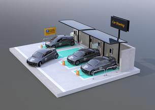グレイバックにカーシェアリング専用駐車場に充電している電気自動車のイメージの写真素材 [FYI04647077]