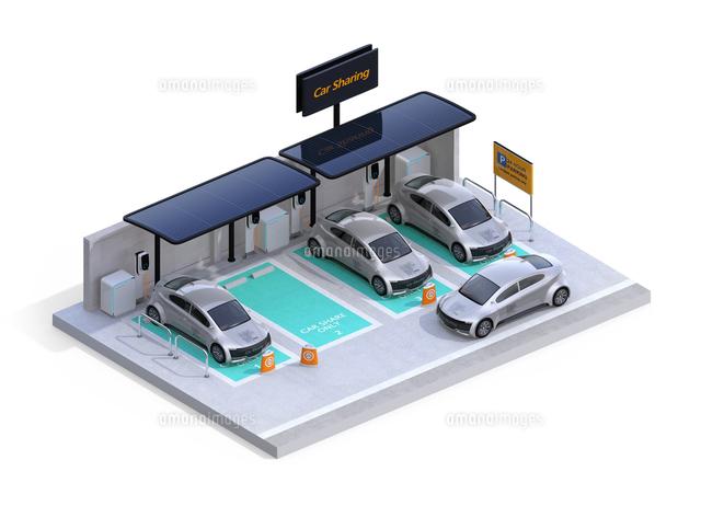 白バックにカーシェアリング専用駐車場に充電している電気自動車のアイソメイメージの写真素材 [FYI04647080]