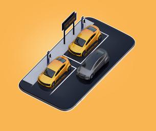 スマートフォンにカーシェアリング専用駐車場にある電気自動車のイメージの写真素材 [FYI04647083]