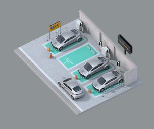 カーシェアリング専用駐車場に充電している電気自動車のアイソメイメージの写真素材 [FYI04647091]