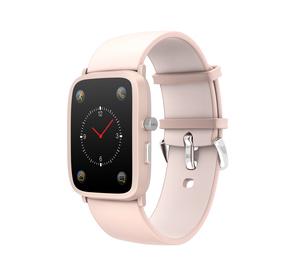 グレイ背景にピンク色のスマートウォッチの写真素材 [FYI04647109]