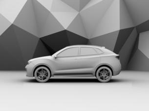 背景用クレイシェーディングの電動SUVの側面イメージの写真素材 [FYI04647120]