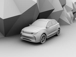 背景用クレイシェーディングの電動SUVのイメージの写真素材 [FYI04647127]