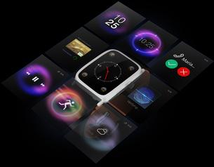 黒バックにスマートウォッチとUI画面の合成イメージ。多機能端末画面のコンセプトイメージの写真素材 [FYI04647138]