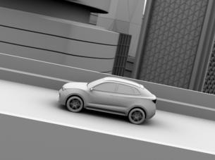 高速道路に走行してい電動SUVのクレイレンダリングイメージの写真素材 [FYI04647166]