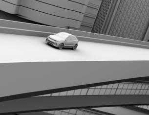 高速道路に走行してい電動SUVのクレイレンダリングイメージの写真素材 [FYI04647169]