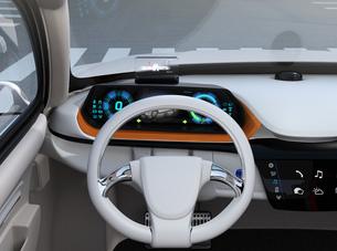 ヘッドアップディスプレイがある電動SUVのダッシュボードのイメージの写真素材 [FYI04647175]
