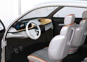 ヘッドアップディスプレイがある電動SUVのダッシュボードのイメージの写真素材 [FYI04647178]