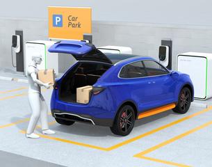 配達員が駐車場にあるクルマのトランクを開け、車内配達サービスを行う。ラストワンマイルコンセプトの写真素材 [FYI04647184]